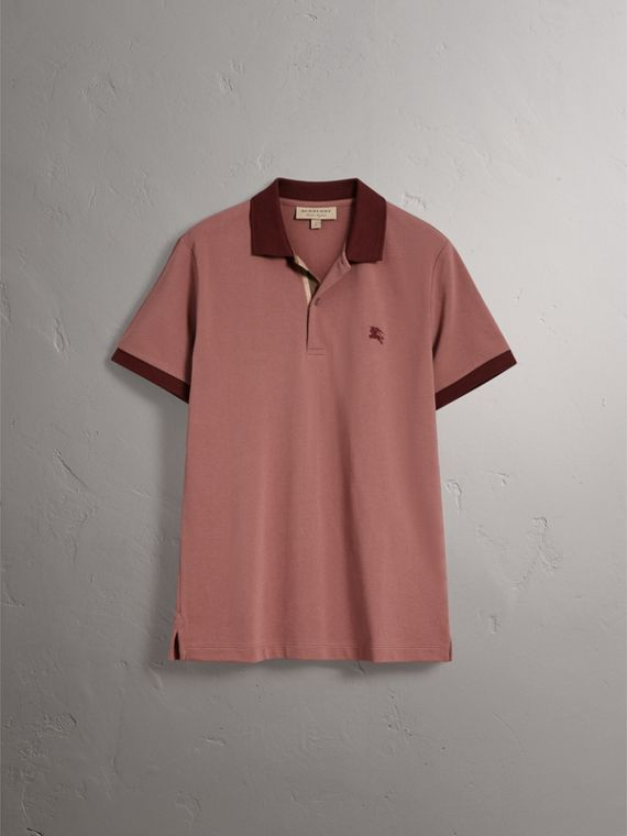 Cotton Piqué Polo Shirt in Rosewood - Men | Burberry - cell image 3
