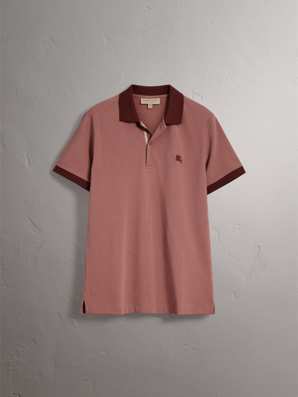 Cotton Piqué Polo Shirt in Rosewood - Men | Burberry United Kingdom - cell image 3