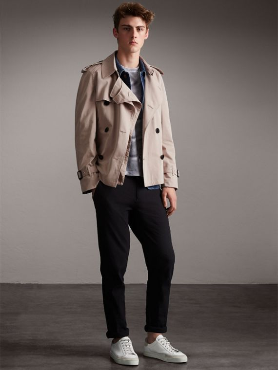 Unisex Tropical Gabardine Trench Jacket in Light Taupe - Women | Burberry - cell image 2