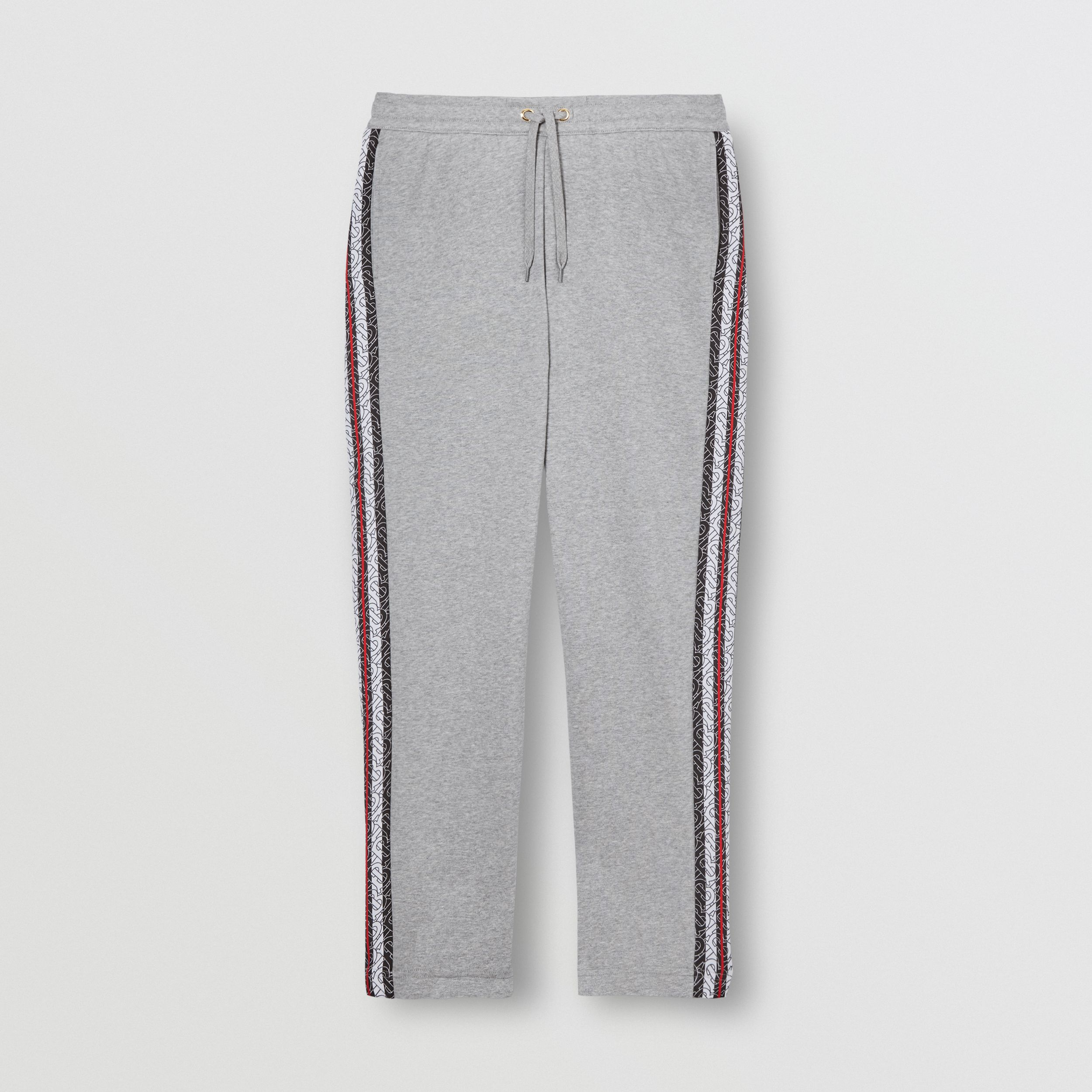 Monogram Stripe Panel Cotton Jogging Pants in Pale Grey Melange - Men | Burberry Australia - 4