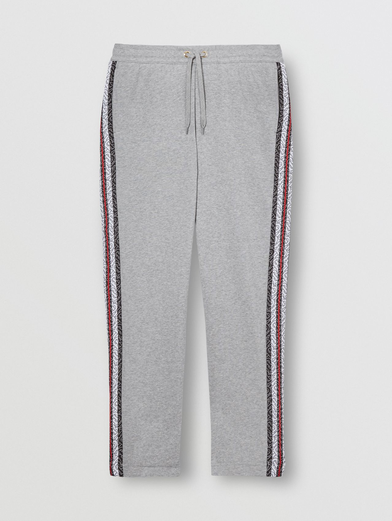 Monogram Stripe Panel Cotton Trackpants in Pale Grey Melange
