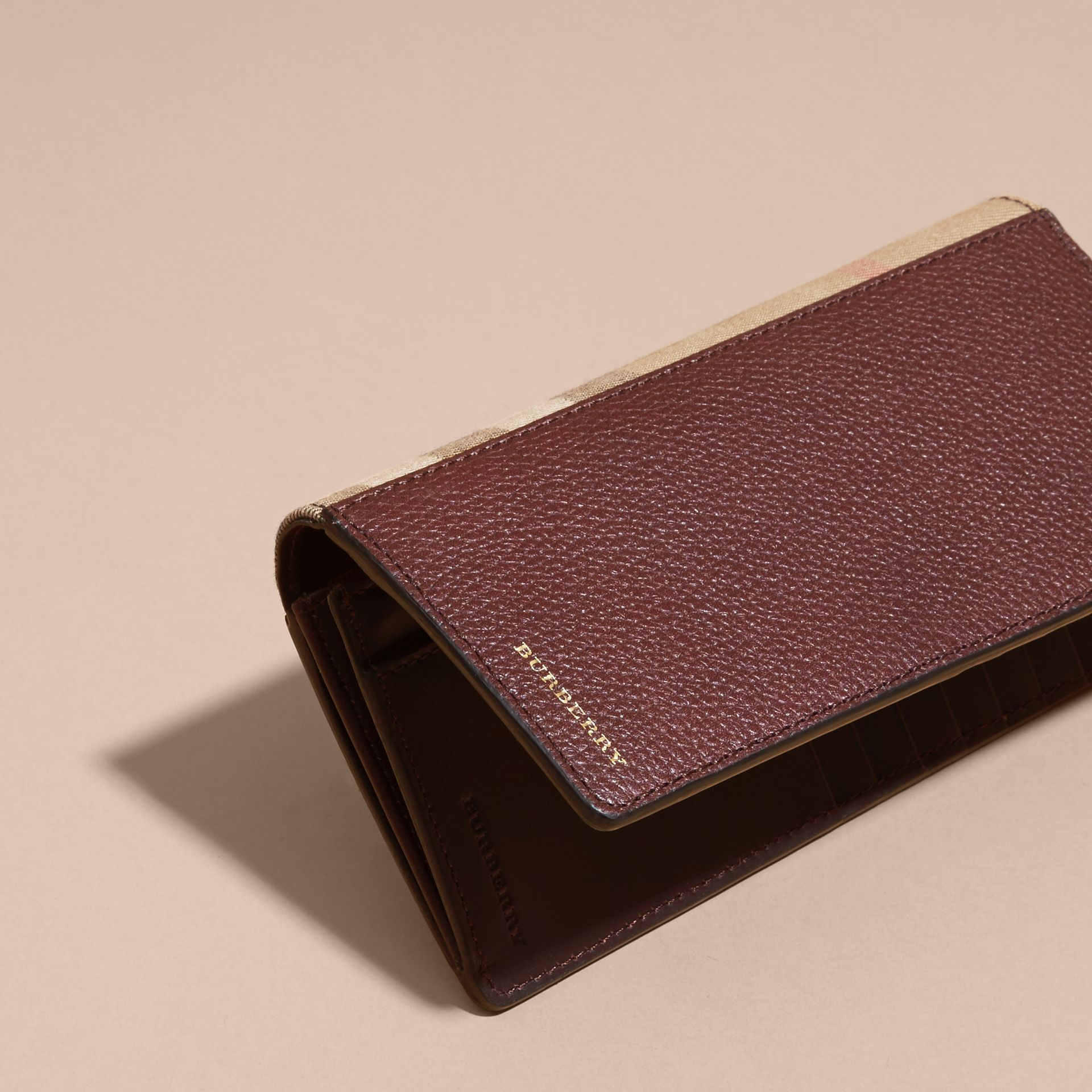Wine House Check and Grainy Leather Continental Wallet Wine - gallery image 6