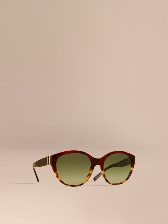 Buckle Detail Round Frame Sunglasses in Amber Yellow - Women | Burberry
