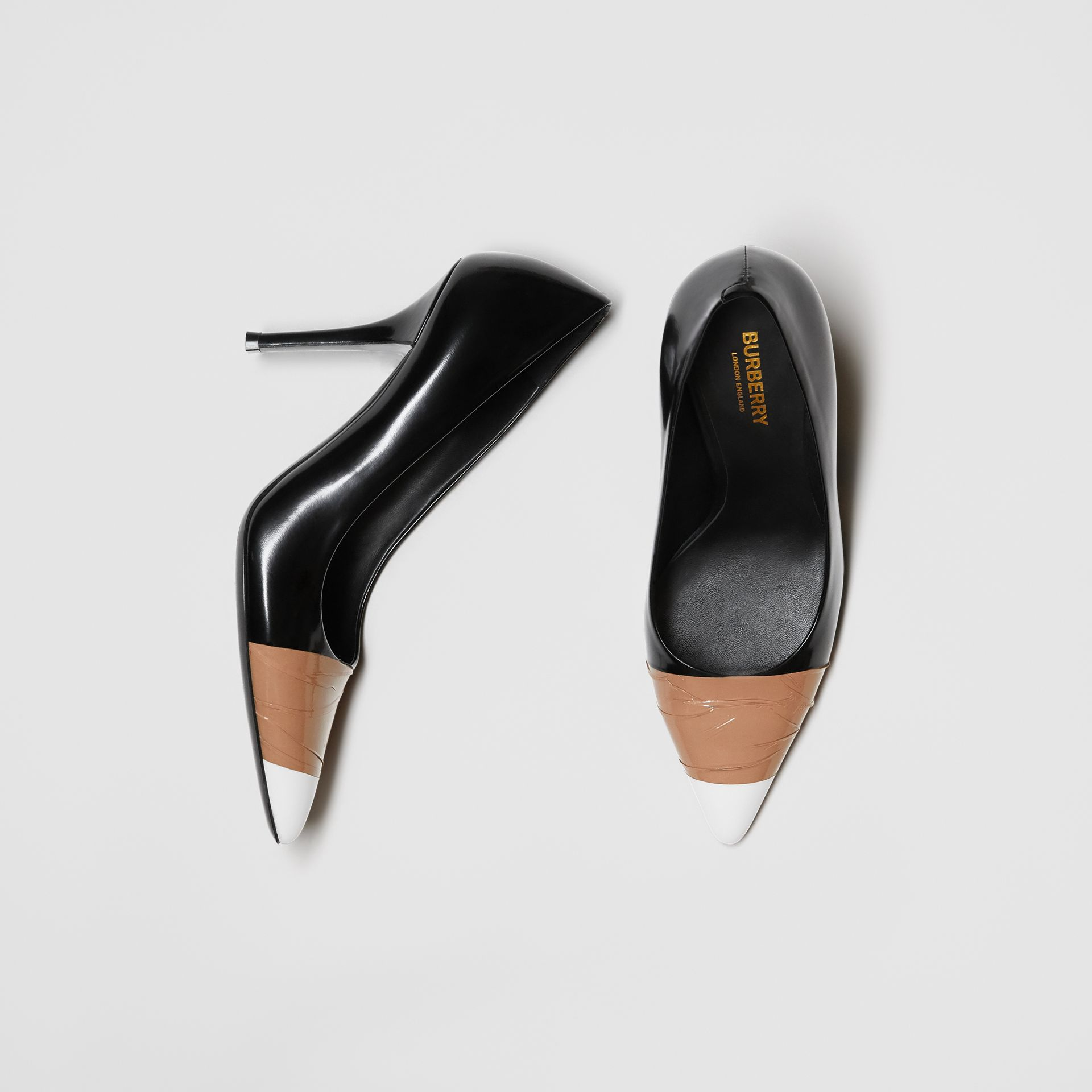 Tape Detail Leather Pumps in Black/optic White - Women | Burberry - gallery image 0