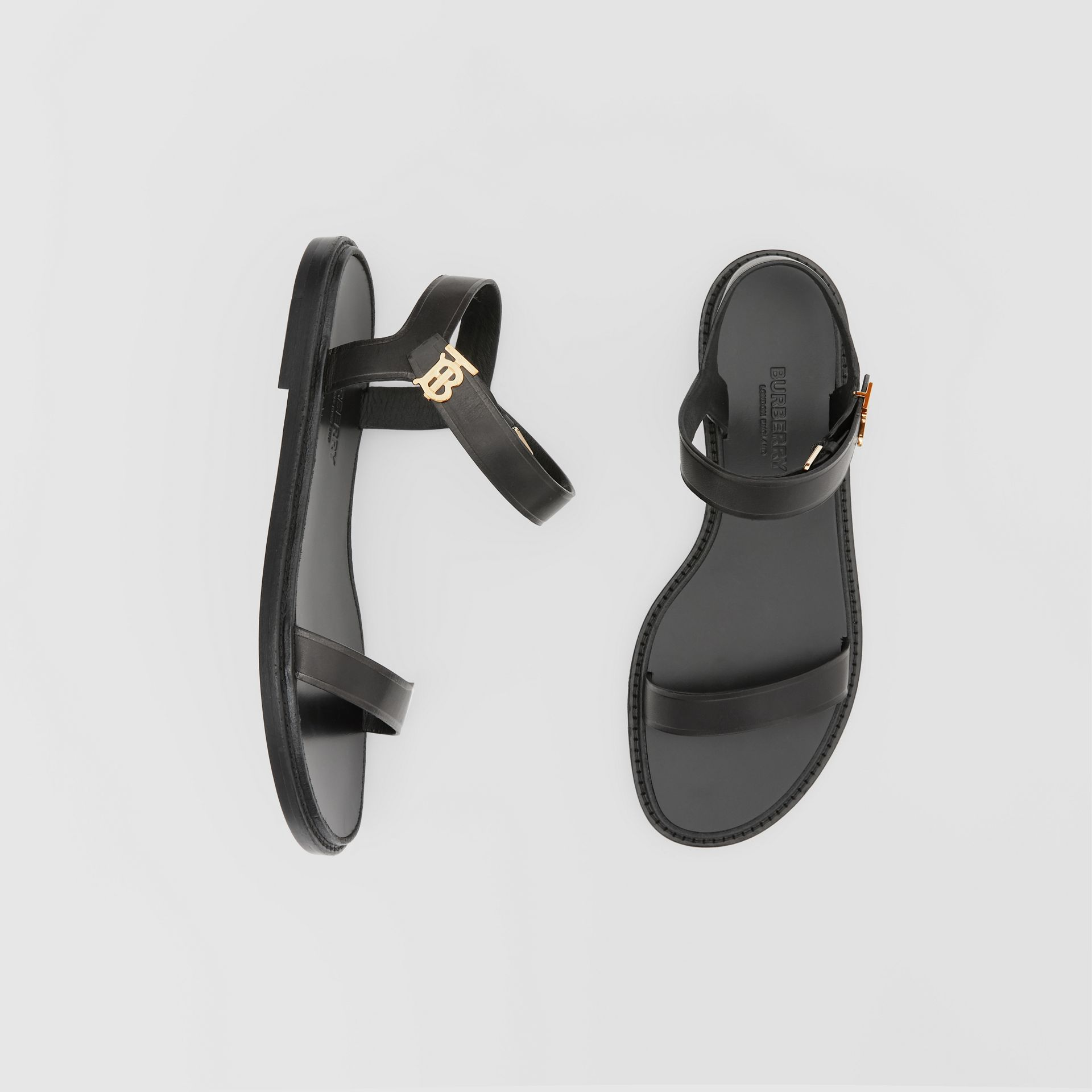 Monogram Motif Leather Sandals in Black - Women | Burberry United Kingdom - gallery image 0