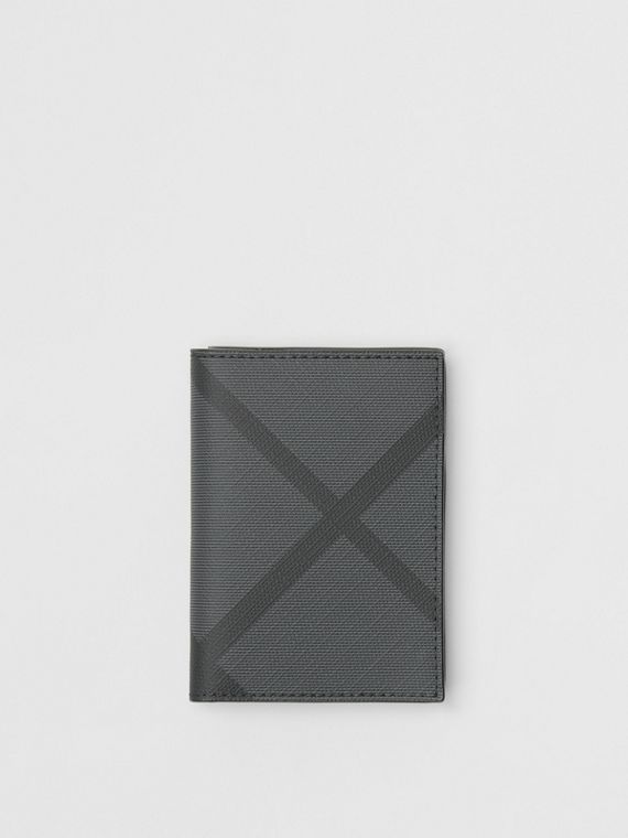 London Check and Leather Folding Card Case in Charcoal/black