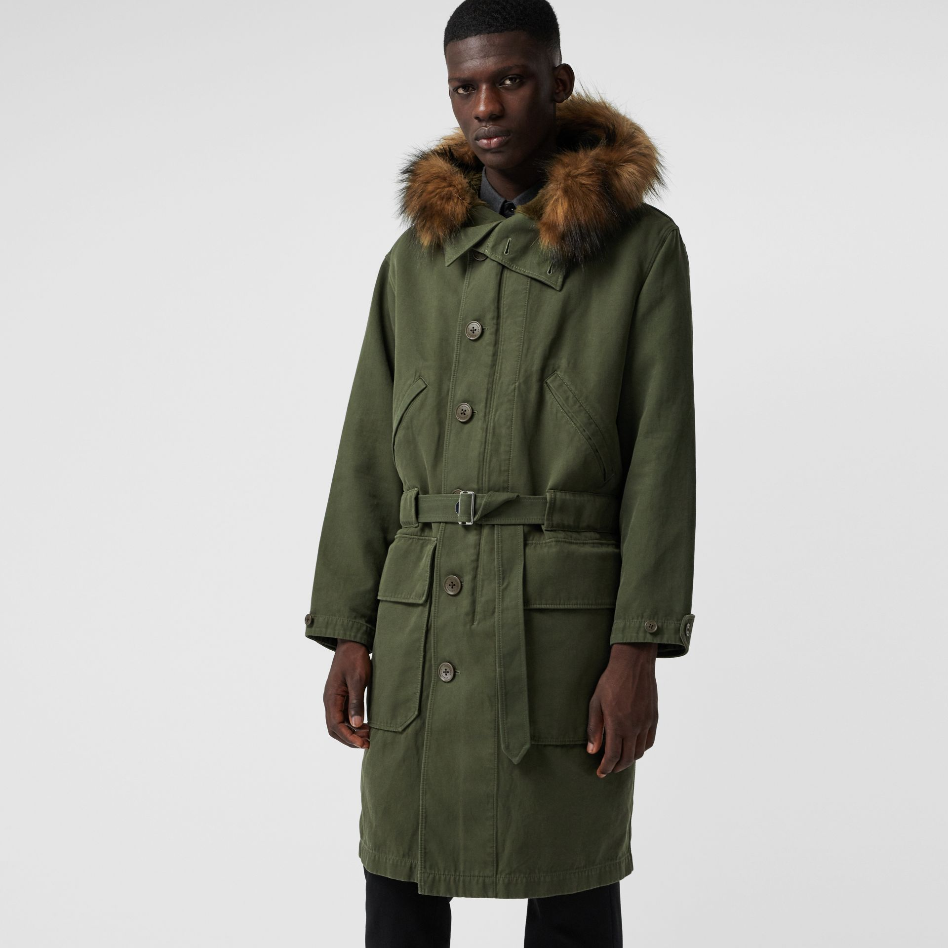 Double-faced Cotton Silk Hooded Parka with Warmer in Olive - Men | Burberry - gallery image 3