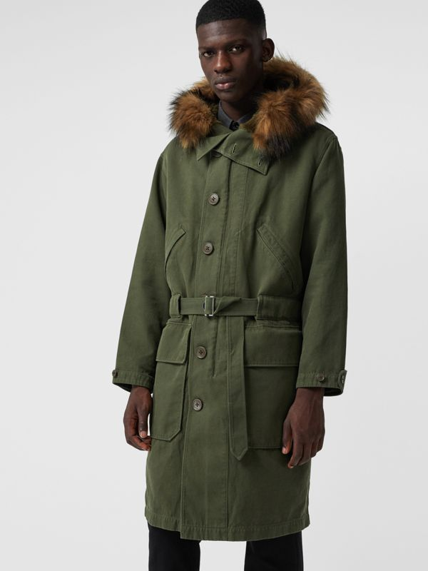 Double-faced Cotton Silk Hooded Parka with Warmer in Olive - Men | Burberry - cell image 3