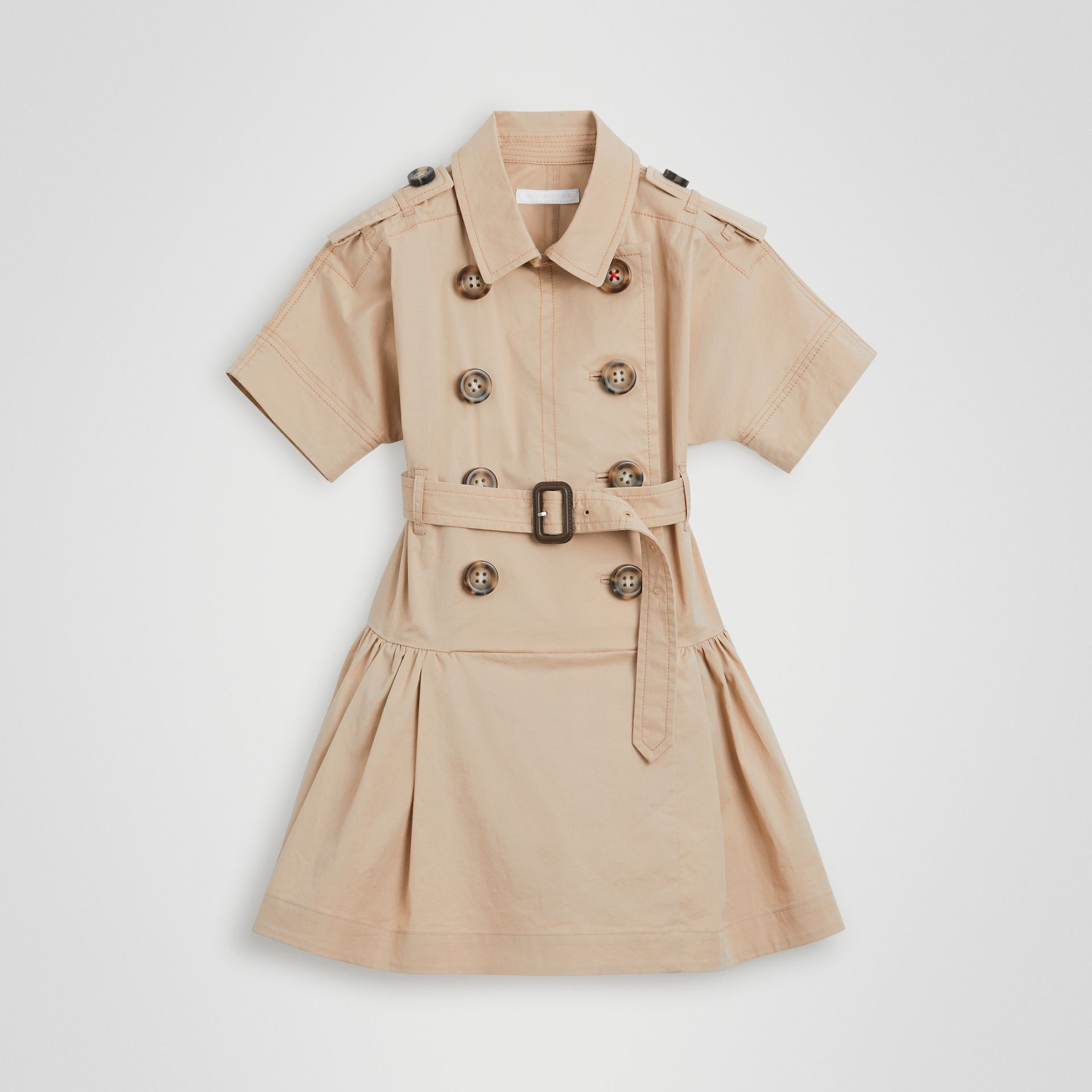 Robe trench en coton extensible (Miel) | Burberry - photo de la galerie 0