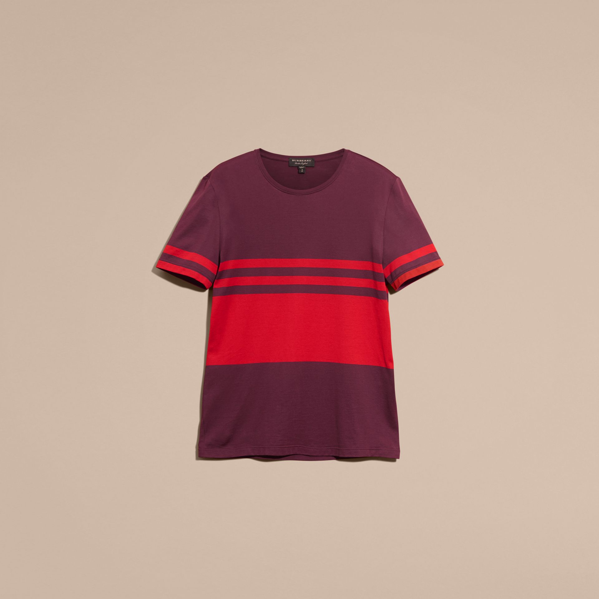 Maroon purple Stripe Print Cotton T-shirt Maroon Purple - gallery image 4