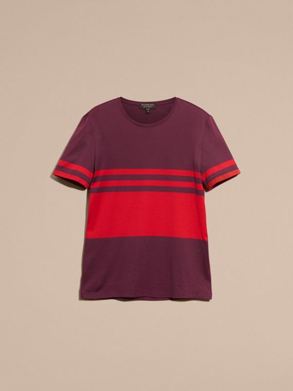 Maroon purple Stripe Print Cotton T-shirt Maroon Purple - cell image 3