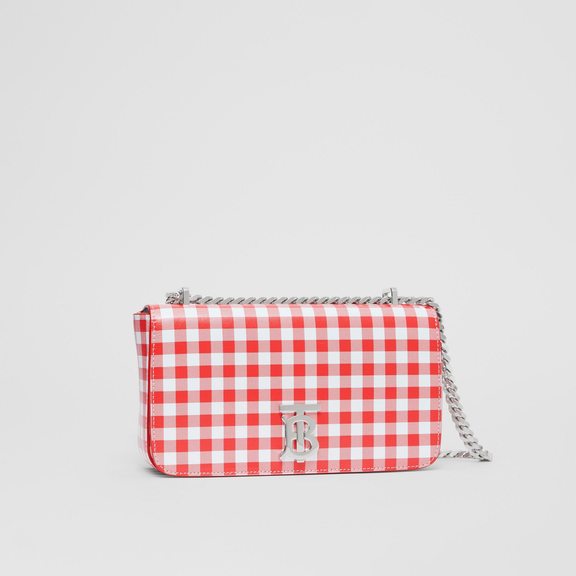 Small Gingham Leather Lola Bag in Red - Women | Burberry - gallery image 4