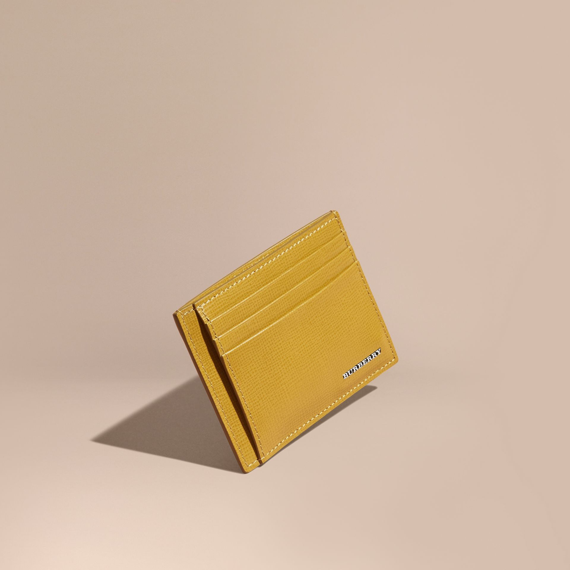 London Leather Money Clip Card Case Larch Yellow - gallery image 1