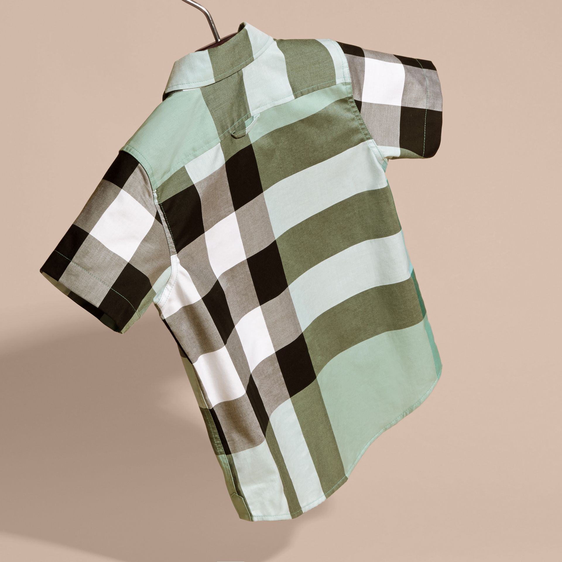 Short-sleeve Check Cotton Shirt in Eucalyptus - gallery image 4