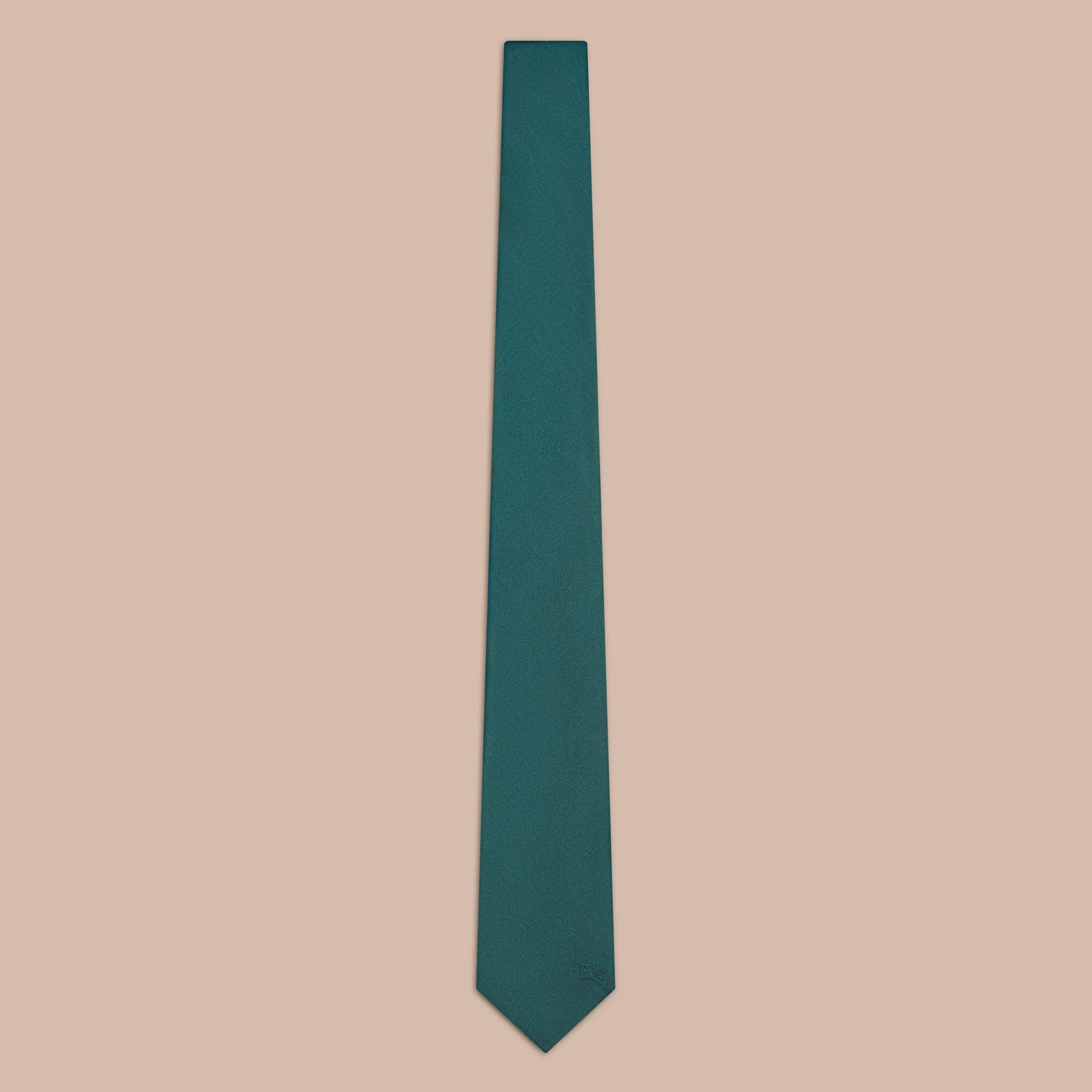 Deep viridian green Modern Cut Silk Tie - gallery image 1