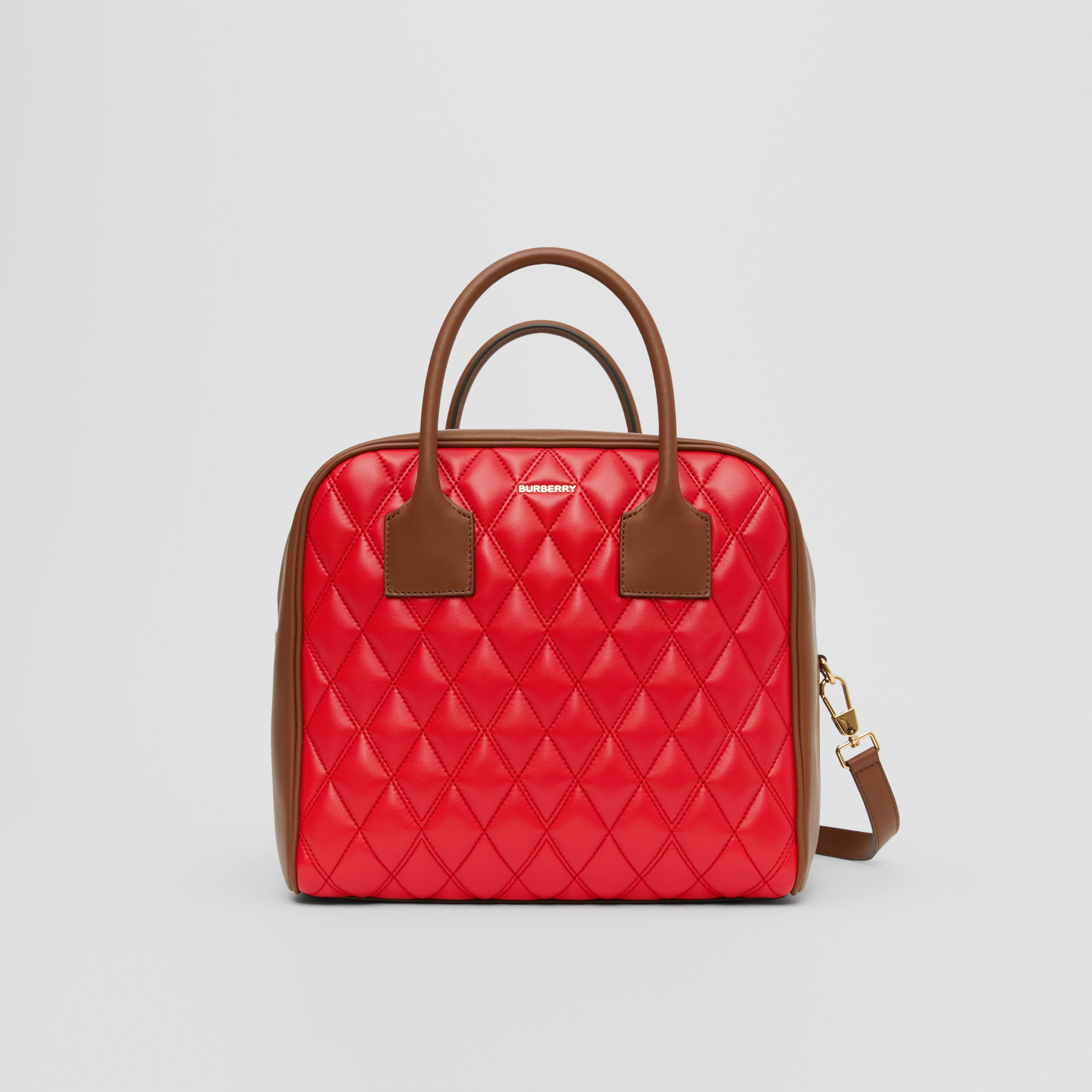 Medium Quilted Lambskin Cube Bag in Bright Red - Women | Burberry - 1