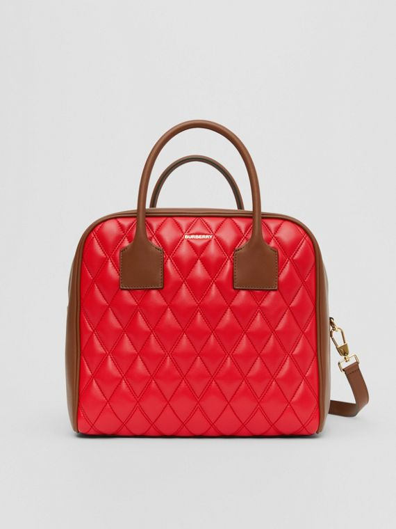 Medium Quilted Lambskin Cube Bag in Bright Red