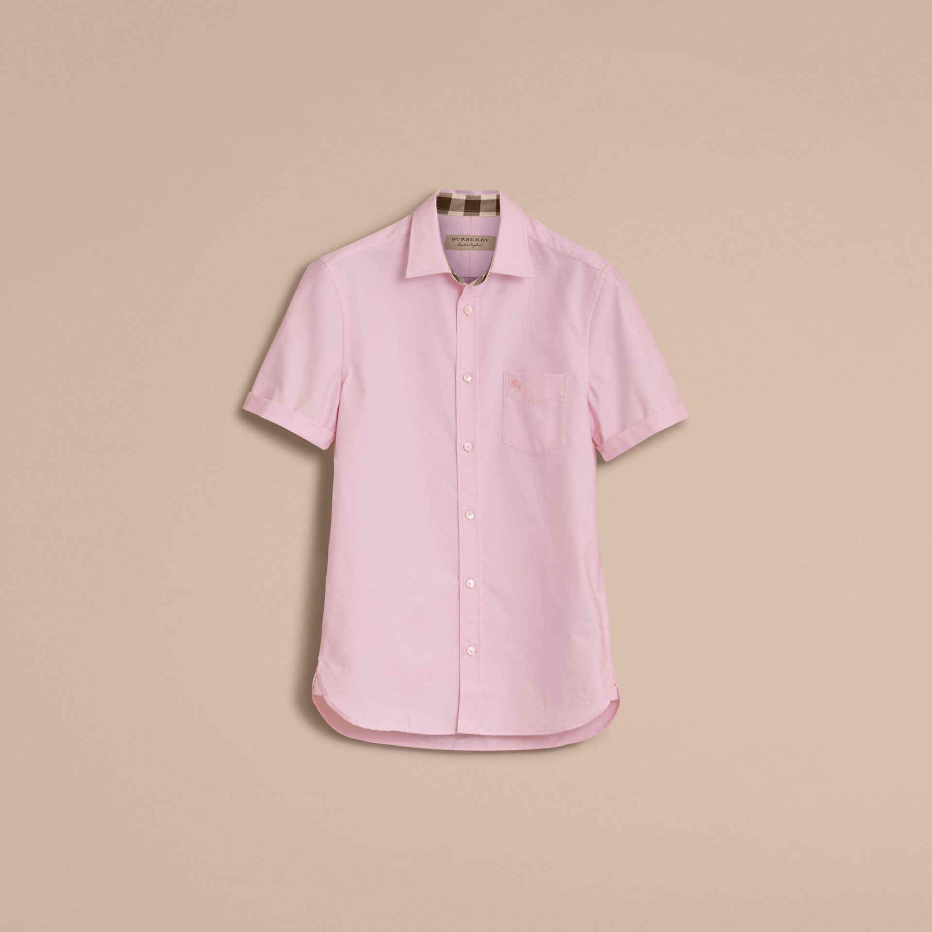 Check Detail Short-Sleeved Cotton Oxford Shirt in Pale Pink - gallery image 4
