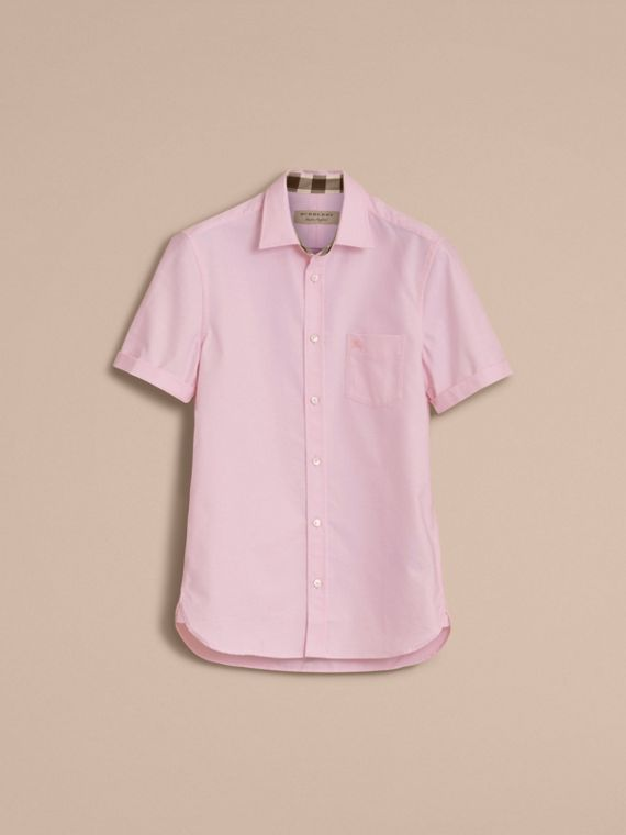 Check Detail Short-Sleeved Cotton Oxford Shirt in Pale Pink - cell image 3
