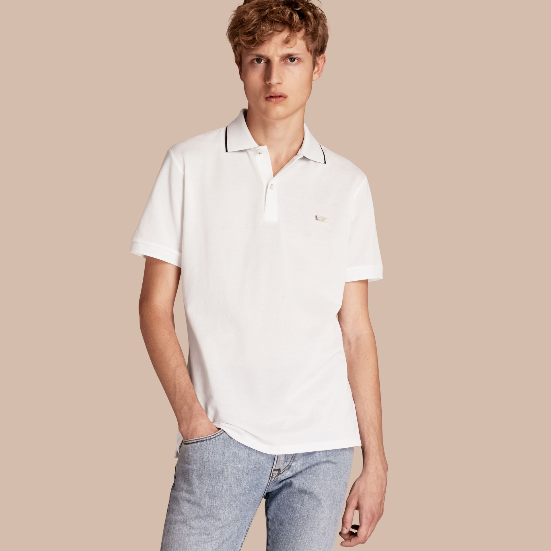 Tipped Collar Cotton Piqué Polo Shirt in White - Men | Burberry - gallery image 1