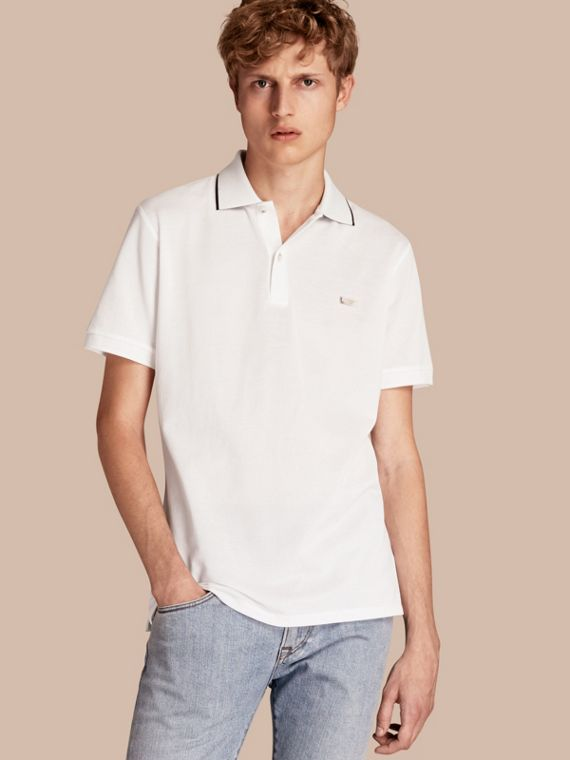 Tipped Collar Cotton Piqué Polo Shirt in White