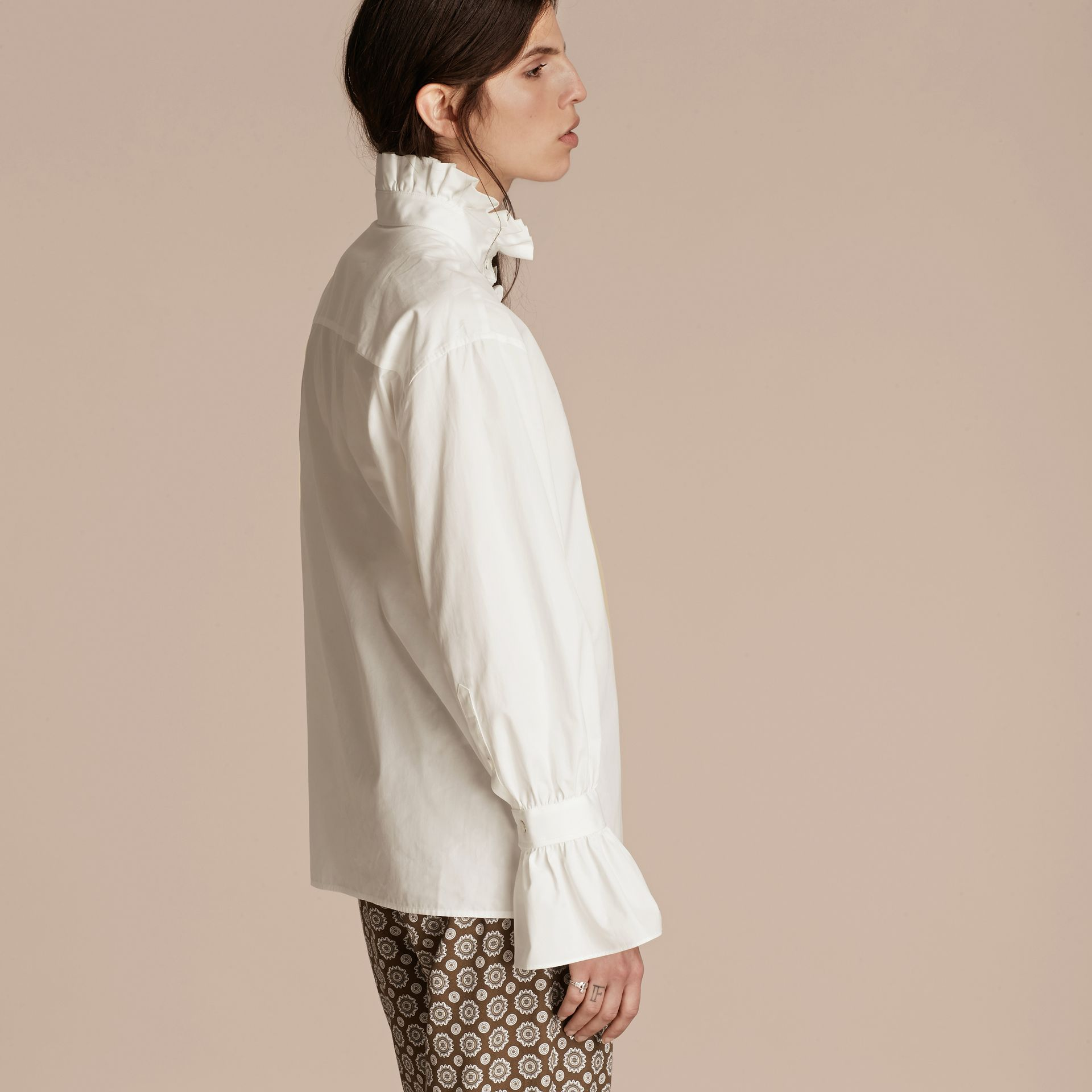 White Cotton Shirt with Ruffles - gallery image 3