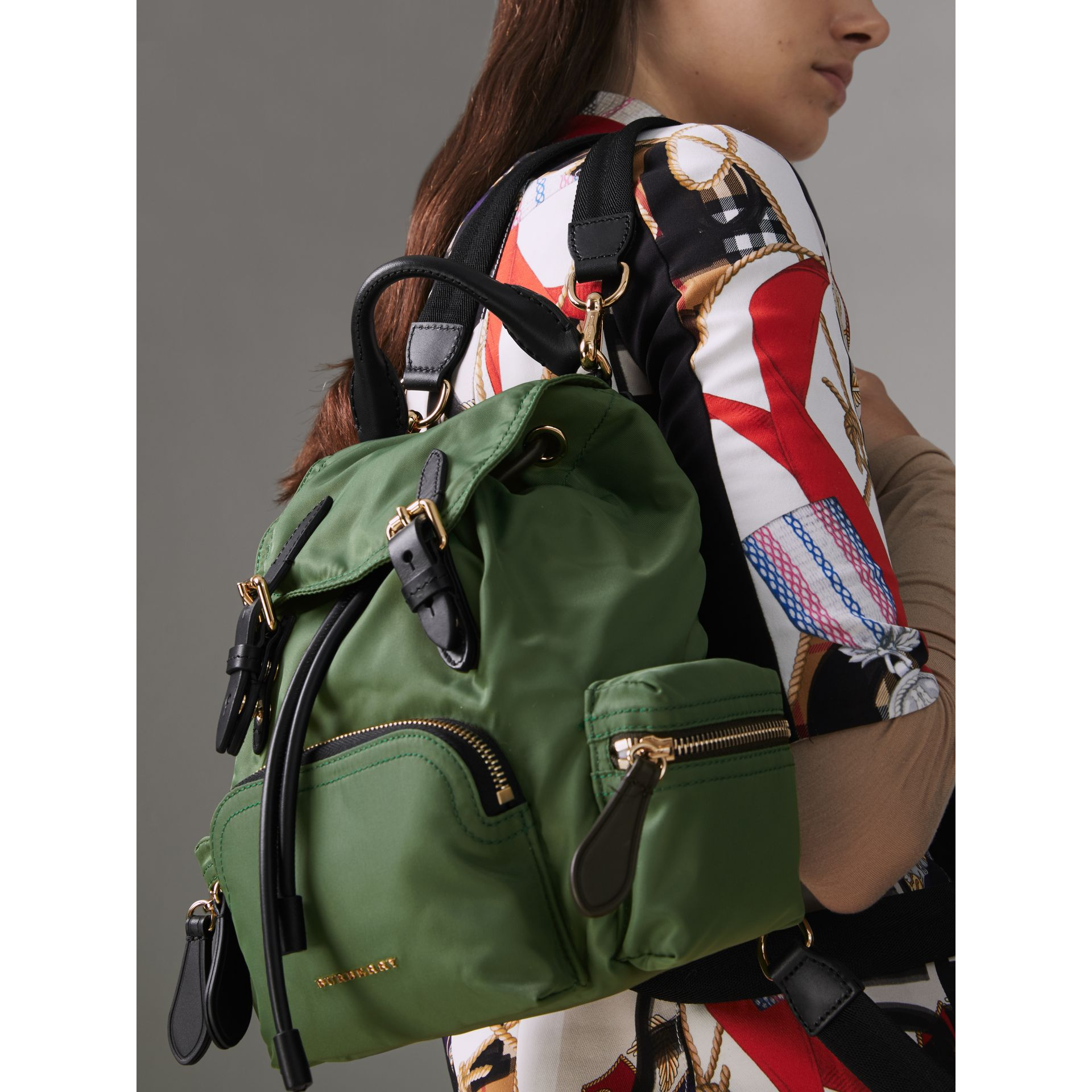 The Small Crossbody Rucksack in Nylon in Racing Green - Women | Burberry Australia - gallery image 3