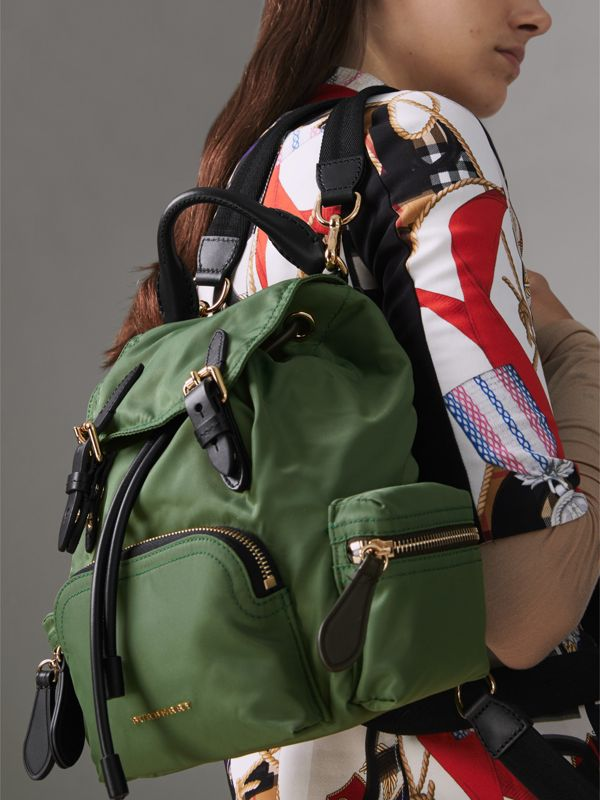 The Small Crossbody Rucksack in Nylon in Racing Green - Women | Burberry Hong Kong - cell image 3