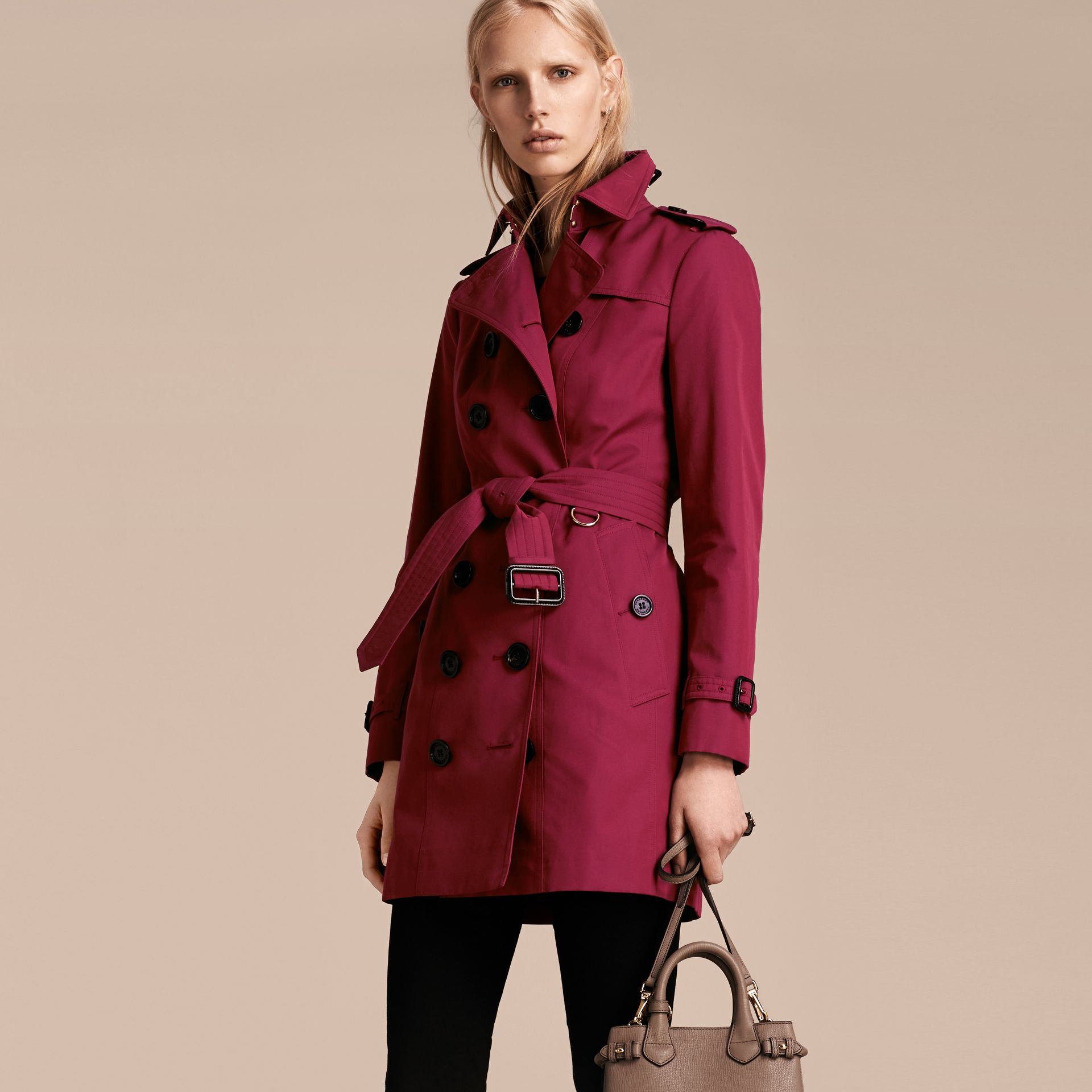 Cotton Gabardine Trench Coat in Damson Pink - gallery image 7