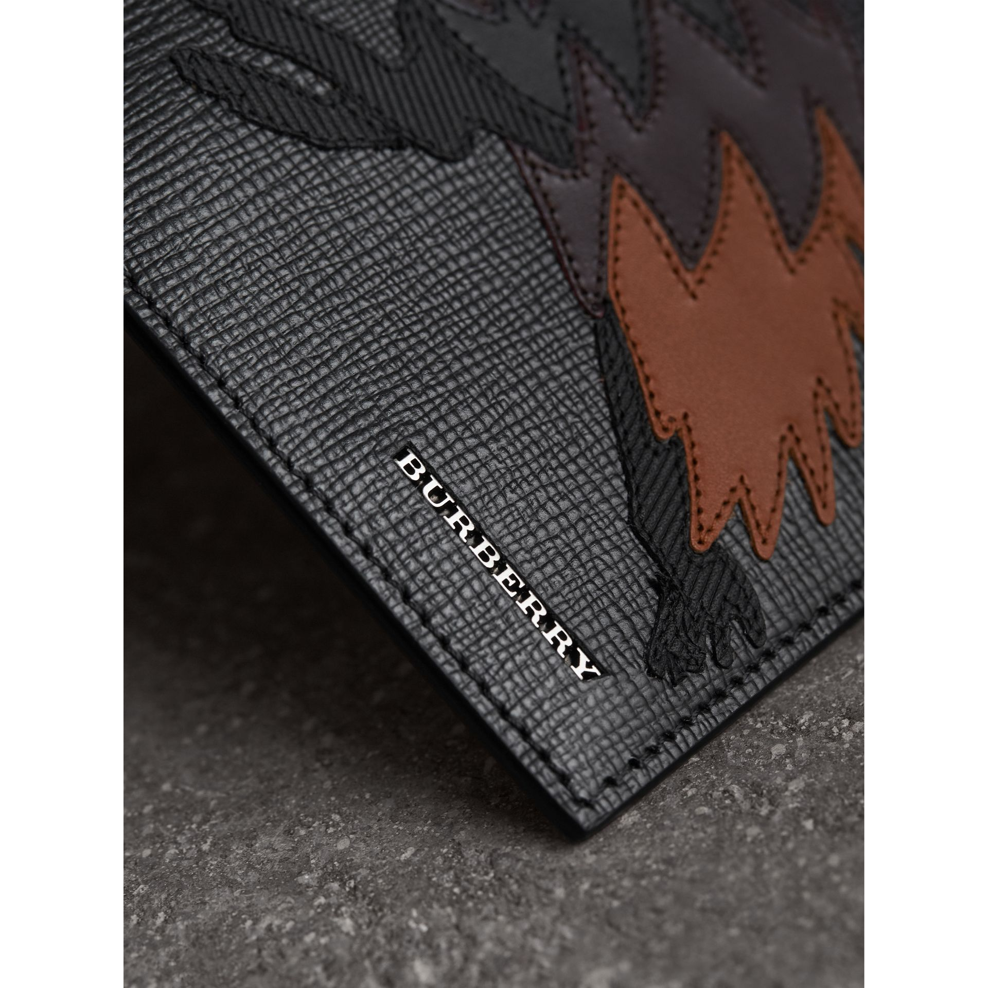 Beasts Motif Leather International Bifold Wallet in Black - Men | Burberry Australia - gallery image 2