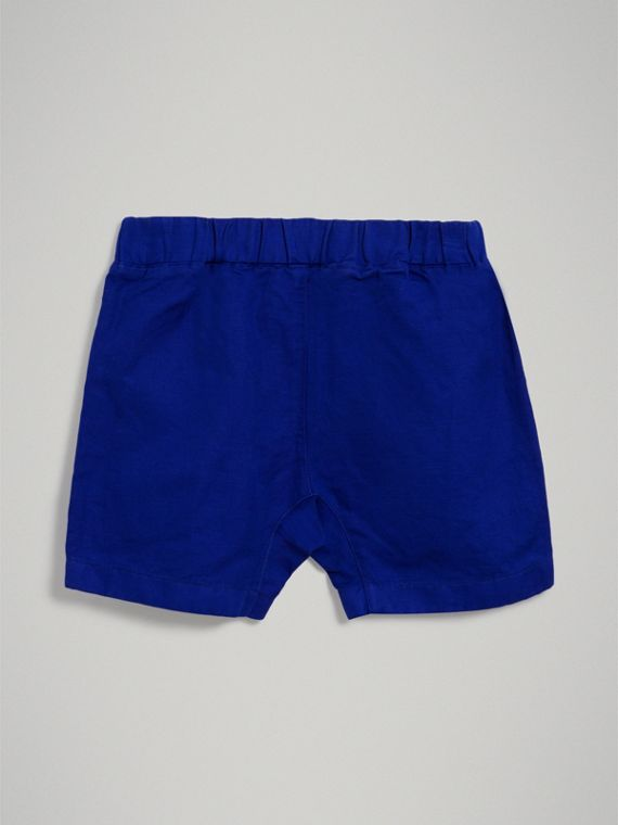 Drawcord Cotton Linen Twill Shorts in Brilliant Blue - Boy | Burberry Australia - cell image 3