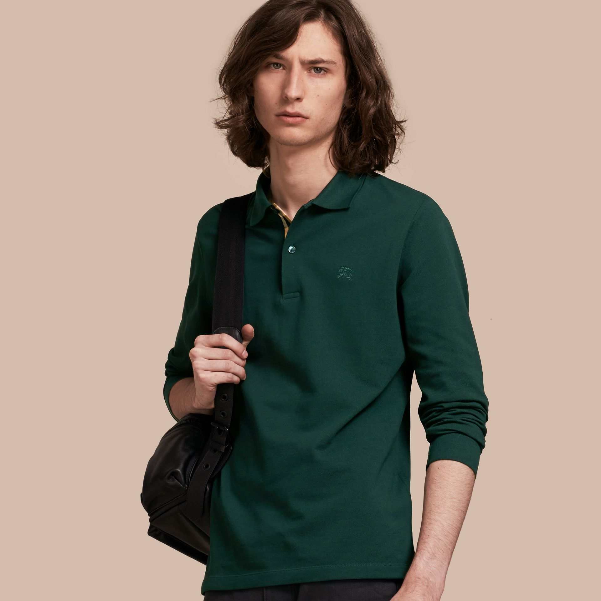 Racing green Check Placket Long Sleeve Polo Shirt Racing Green - gallery image 1