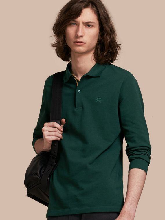 Check Placket Long Sleeve Polo Shirt Racing Green