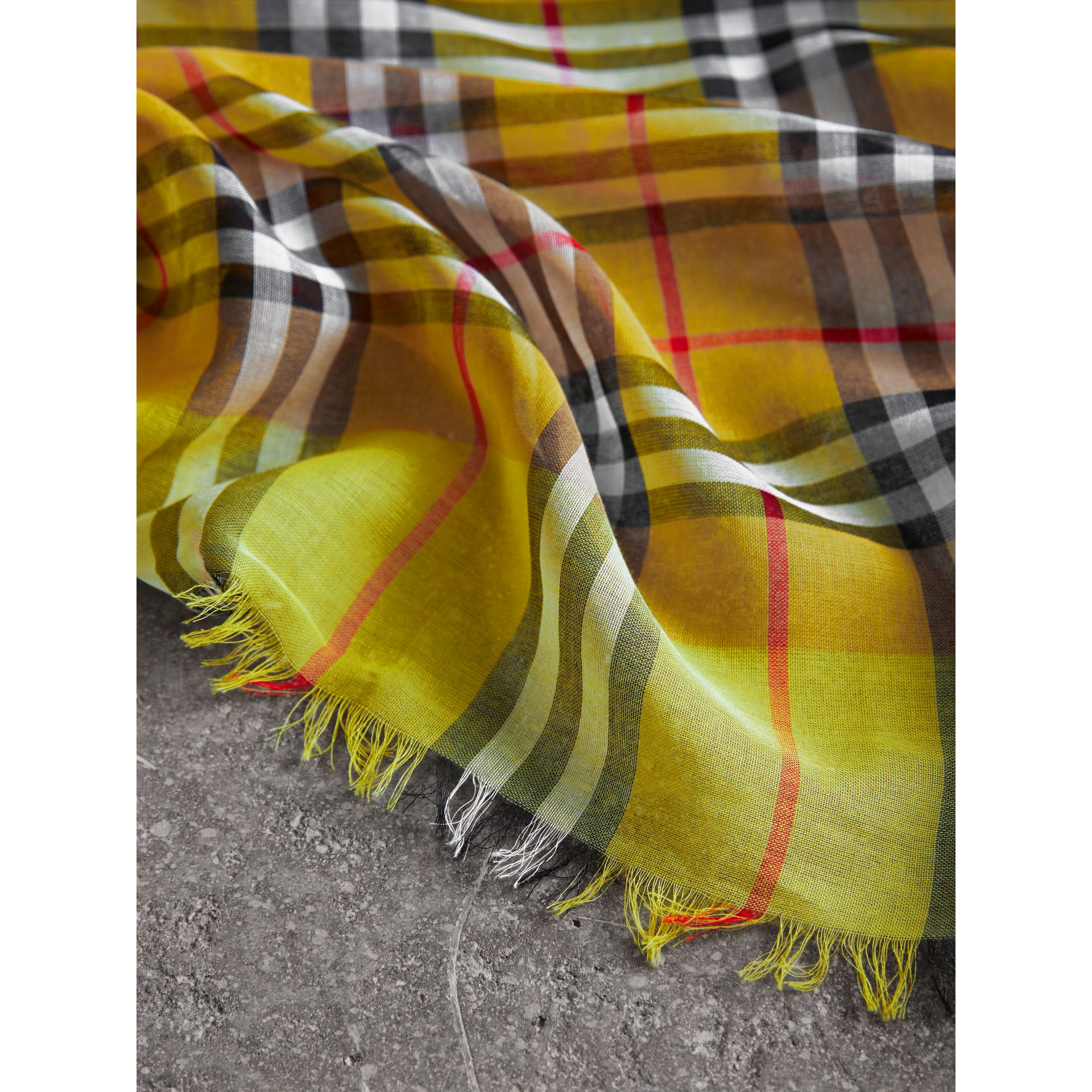 Two-tone Vintage Check Cotton Square Scarf in Bright Lemon | Burberry - gallery image 1