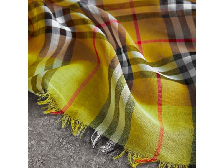 Two-tone Vintage Check Cotton Square Scarf in Bright Lemon | Burberry - cell image 1