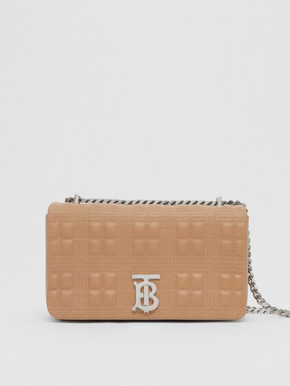 Small Quilted Check Grainy Leather Lola Bag in Camel