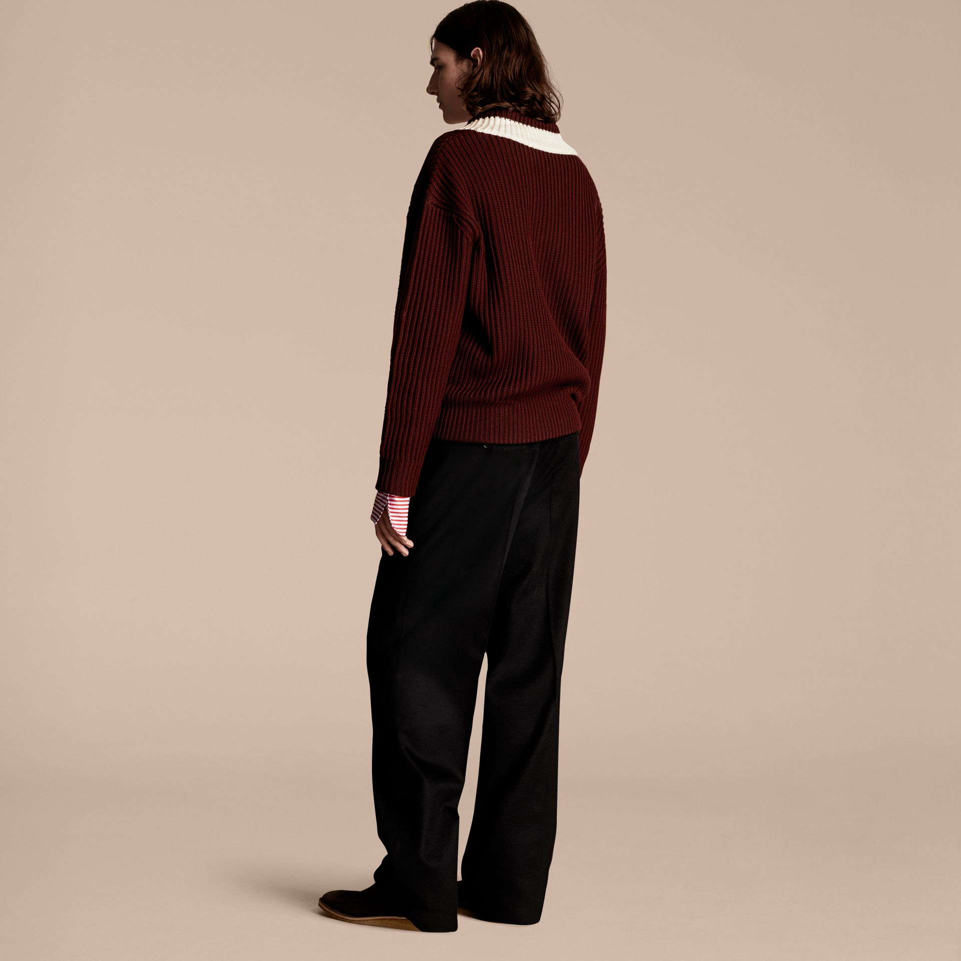 Deep burgundy/natural white Sports-striped Wool Sweater - gallery image 3