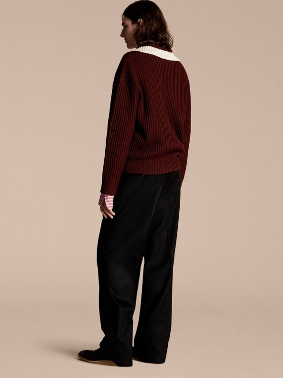 Deep burgundy/natural white Sports-striped Wool Sweater - cell image 2