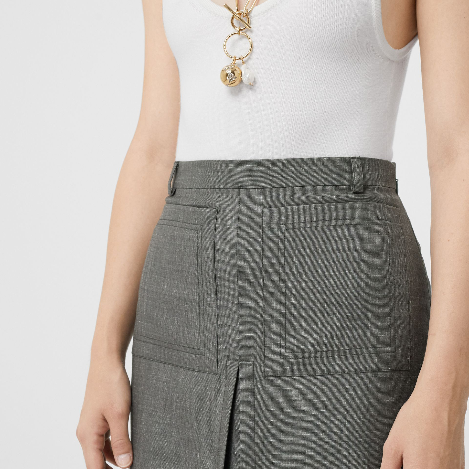 Box-pleat Detail Wool Silk Blend A-line Skirt in Charcoal Grey - Women | Burberry - gallery image 1