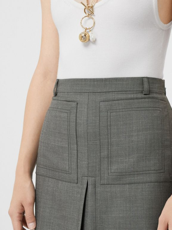 Box-pleat Detail Wool Silk Blend A-line Skirt in Charcoal Grey - Women | Burberry - cell image 1