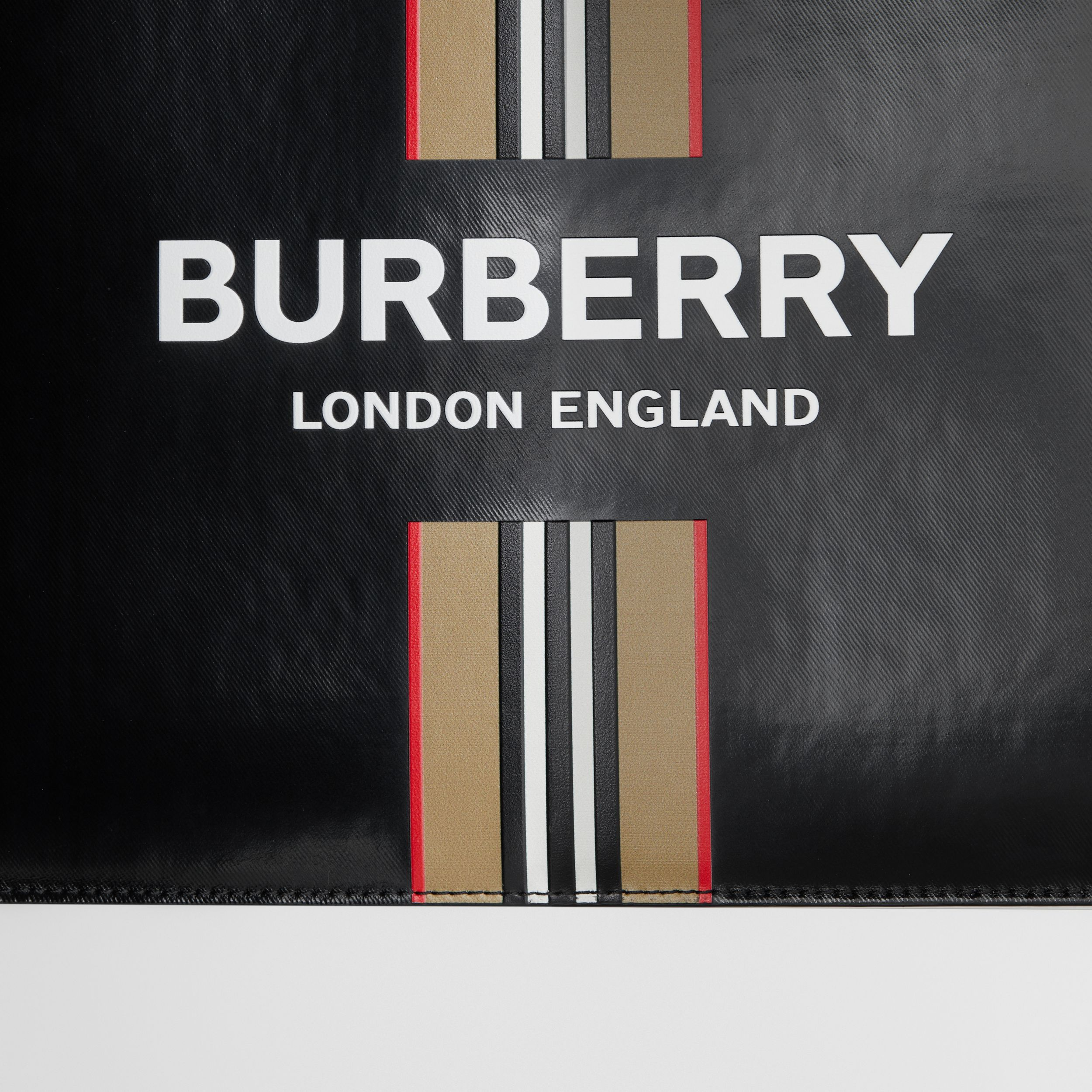 Logo and Icon Stripe Print Coated Canvas Zip Pouch in Black | Burberry - 2