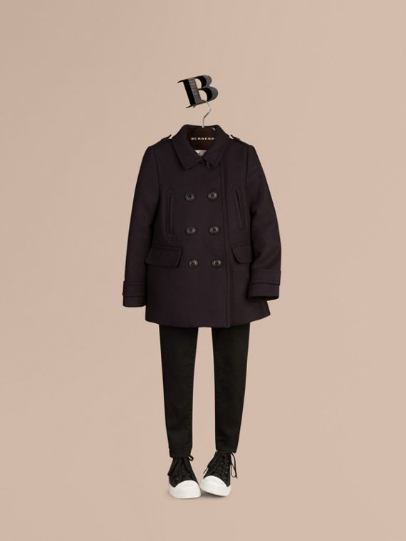 Navy Pea coat in lana e cashmere - cell image 2