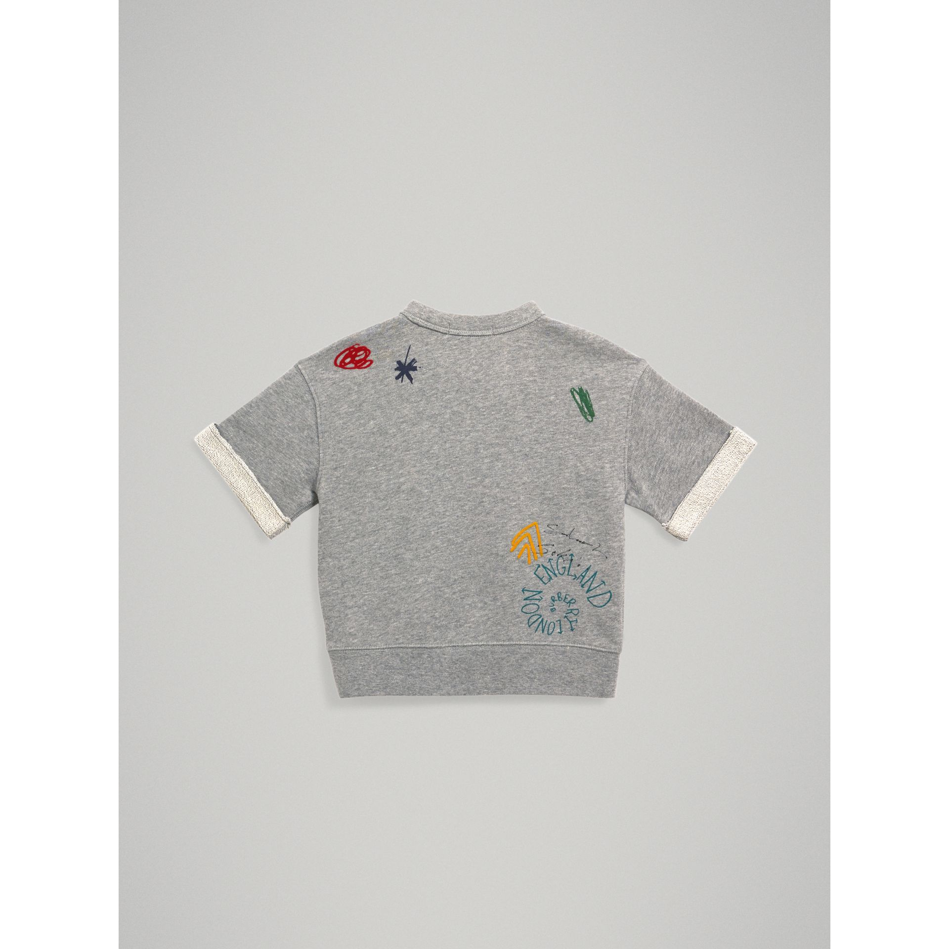 Short-sleeve Adventure Motif Cotton Jersey Sweatshirt in Grey Melange - Boy | Burberry - gallery image 3