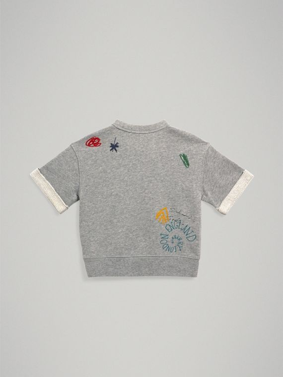 Short-sleeve Adventure Motif Cotton Jersey Sweatshirt in Grey Melange - Boy | Burberry - cell image 3