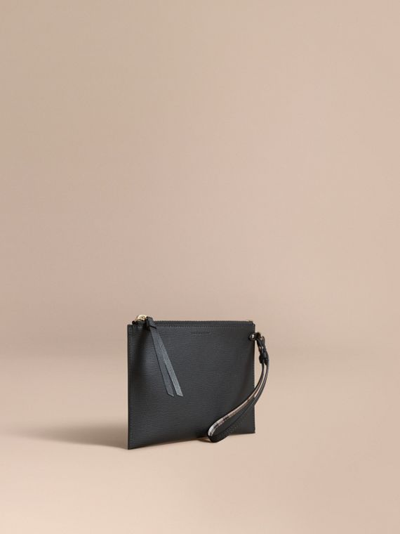 Haymarket Check and Leather Pouch in Black