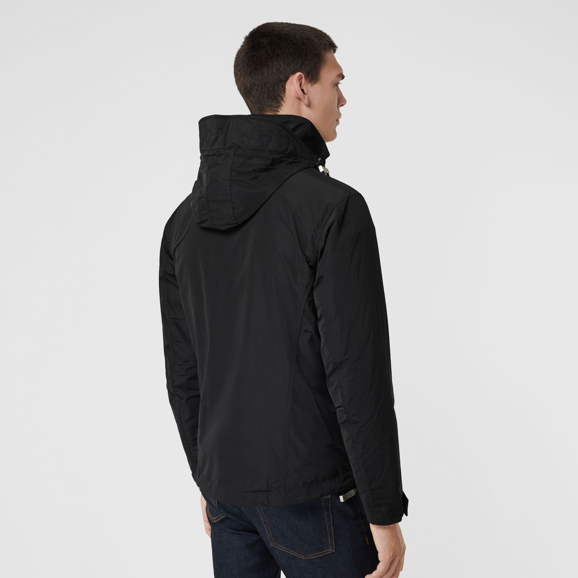 Packaway Hood Showerproof Jacket in Black - Men | Burberry Singapore - gallery image 2