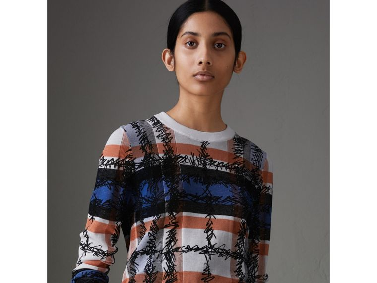 Scribble Check Cotton Sweater in Cobalt Blue - Women | Burberry - cell image 4