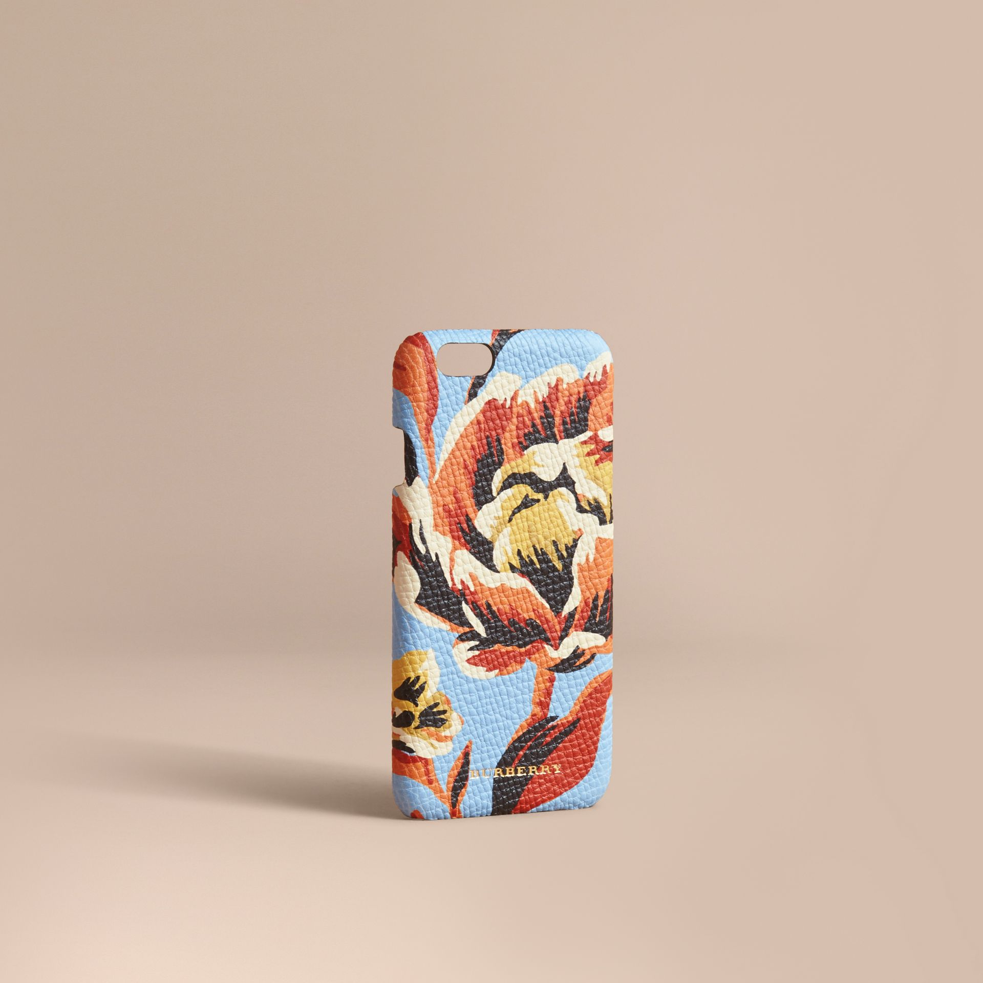 Peony Rose Print Leather iPhone 6 Case in Pale Blue/vibrant Orange | Burberry - gallery image 1