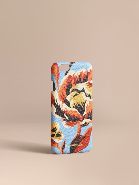 Peony Rose Print Leather iPhone 6 Case Pale Blue/vibrant Orange