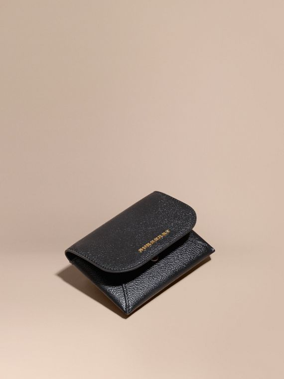 Leather Coin Case with Removable Card Compartment in Black